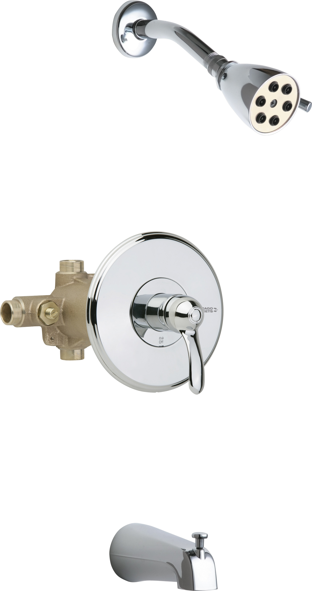 Thermostatic Pressure Balancing Tub And Shower Fitting With Shower Head And Diverter Tub Spout Options